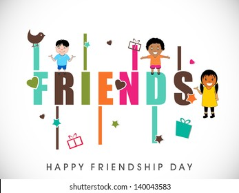 Happy Friendship Day background with cute little boys and girls illustration and colorful text Friends.