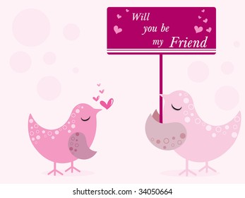 happy friendship day background with pair of bird