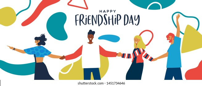 Happy Friendship Day banner illustration of friends walking holding hands with abstract geometric shapes in colorful flat style. Young people group together for social event.