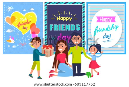 Happy Friendship Day Banner Little Boy Stock Vector Royalty Free