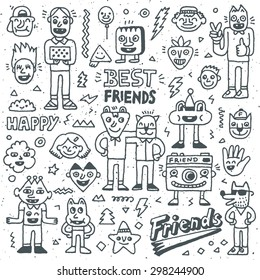 Happy Friendship Day. Best Friends Funny Cartoon Doodle Set. Vector Hand Drawn  Illustration Pattern.