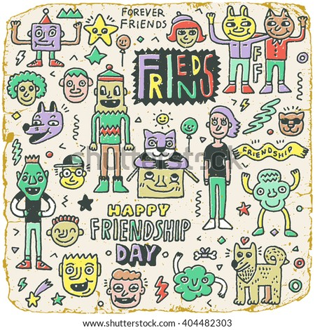 Happy Friendship Day Best Friends Funny Stock Vector Royalty Free