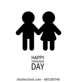 Happy Friendship Day Boys Girls Holding Hands Icon Friends Forever Two Black Man