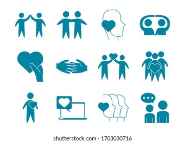 happy friendship day celebration love relationship support team icons set vector illustration line style