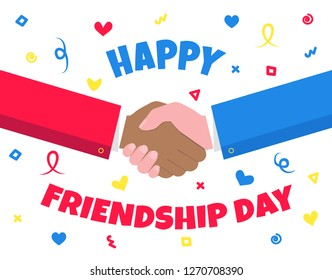 Happy Friendship Day celebration shaking hands flat style design vector illustration poster or walpaper isolated on white background. Symbol of celebration international friendship day. Together!