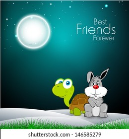 Happy friendship day concept with tortoise and hare in shiny night background.