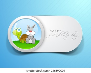 Happy friendship day concept with tortoise and hare.