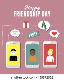 Happy friendship day creative vector concept flat illustration, invite for party by phone, messaging, gift, present, drink, friend message for posters and covers.