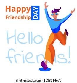 Happy friendship day. A happy friend runs to hug. Vector illustration.