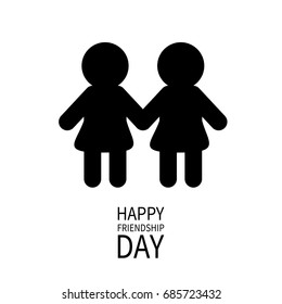 Happy Friendship Day Girls Holding Hands Icon Friends Forever Two Black Woman Female