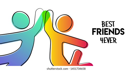 Happy Friendship Day greeting card. Friends doing high five for special event celebration in simple stick figure art style with best friend forever quote.