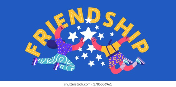 Happy friendship day greeting card illustration of young woman friends doing high five hand gesture together. Special best friend relationship celebration, colorful flat cartoon characters.