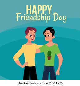 Happy friendship day greeting card design with two men, friends hugging each other, cartoon vector illustration on blue background. Half length portrait of male friends, friendship day greeting card