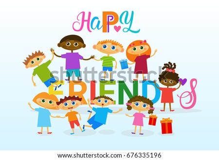 Happy friendship day greeting card mix stock vector royalty free happy friendship day greeting card mix race kids friends multi ethnic holiday banner vector illustration m4hsunfo