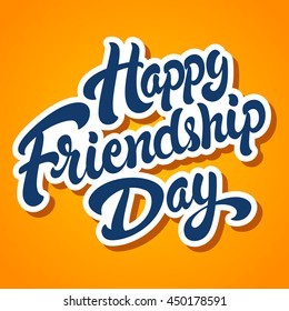 Happy Friendship Day hand drawn vector lettering design. Perfect for advertising, poster or greeting card