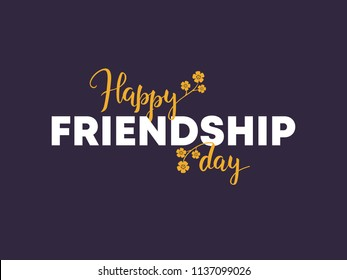 """""""Happy Friendship Day"""", hand lettering and typography on dark background. Vector calligraphic Day of Friendship design for banner, flyers, greeting, invitation, brochures, cover."""