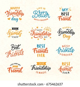Happy Friendship Day hand lettering big set. Greeting card typography template. Modern calligraphy design elements for cute poster, banner, tee shirt print. Vector illustration.