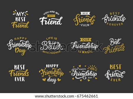 happy friendship day hand lettering big stock vector royalty free