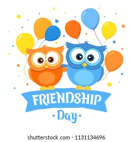 Happy Friendship day, holiday of the best friends. Two funny owls hugging. Greeting card with orange and blue owl and ballons