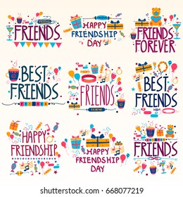 Happy Friendship Day Holiday and Festival wishing and greetings  in vector