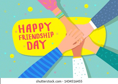 Happy Friendship Day illustration. Friends with stack of hands showing unity and teamwork, top view. People putting their hands together. Flat design, vector concept