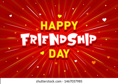 Happy Friendship Day Typography,  Concept, Logo, Greetings, Cards, Design, Template, Banner, Icon, Poster, Unit, Label, Web Header, Mnemonic on Red Celebration Background with Love, Hearts - Vector