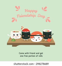 Happy Friendship Day. Vector illustration of a cute cartoon rolls, sushi. Tasty set of Japanese cuisine. Japanese food. Template for  brochure, flyer, poster, discount. Eps 10