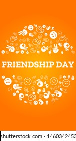 Happy Friendship Day, vector lettering design with icons on yellow background. Perfect for greeting poster