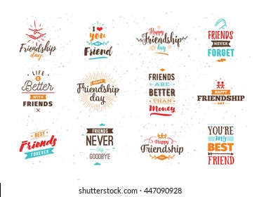 Happy Friendship Day Vector Typographic Colorful Design. Inspirational  Quotes. Usable As Greeting Cards,