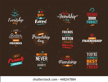 Happy Friendship day vector typographic colorful design. Inspirational quotes about friendship. Usable as Friendship day greeting cards, posters, clothing, Friendship day t-shirt for your friends.