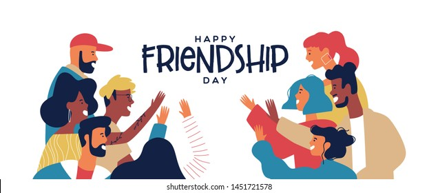 Happy friendship day web banner with diverse friend group of people doing high five together. Young generation on social event holiday.