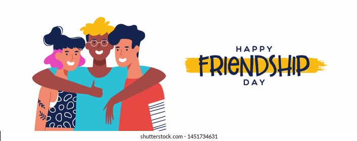 Happy friendship day web banner with diverse friend group of people hugging together. Young generation team hug on social event holiday.