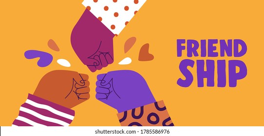 Happy friendship day web banner illustration of colorful diverse friend group doing fist bump hand gesture. Friends relationship holiday event design.