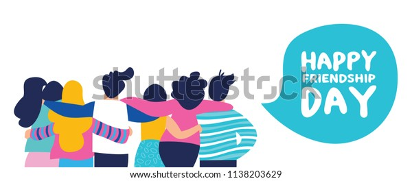 Happy friendship day web banner with diverse friend group of people hugging together for special event celebration. EPS10 vector.