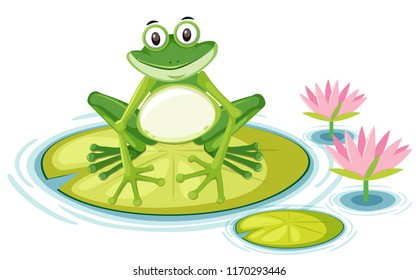 Happy frog on lily pad illustration