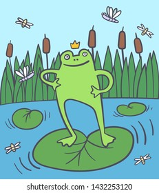 Happy frog in the rushy swamp with flies, dragonfly. Summer swamp. Princess in a pond. Vector cartoon illustration - Vector