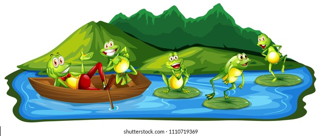 Happy Frogs at the Pond illustration