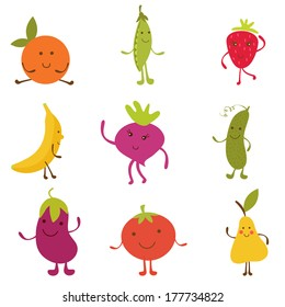 Happy fruit and vegetables characters collection