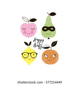 happy fruits, apple, pear, lemon, orange, doodle illustration for kids