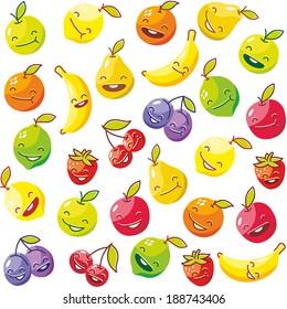 Happy fruits seamless pattern. Vector illustration.