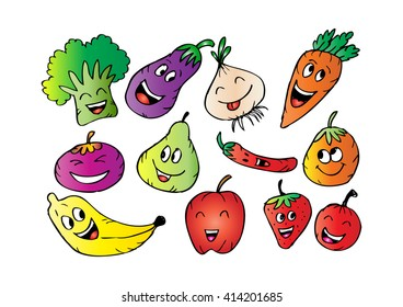 Happy fruits and vegetables. Cartoon style.