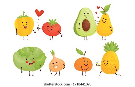 Happy Fruits and Vegetables Falling in Love with Each Other Vector Set