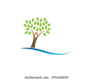 happy fun excited human figure sa a tree with green laeves