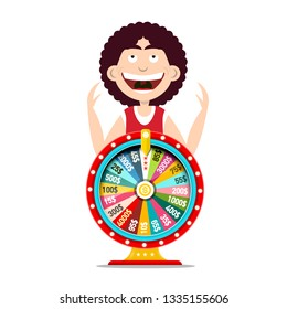 Happy Funky Man with Winning Wheel of Fortune - Lotery Vector Design