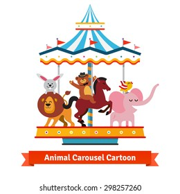 Happy funny cartoon animals riding on a carnival carousel. Rabbit on a lion, bear on a horse and bird on an elephant.  Flat vector illustration isolated on white background.