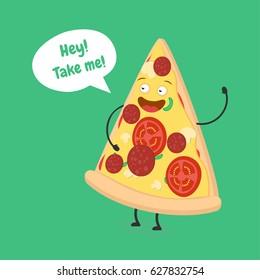Happy funny cartoon pizza slice. Saying hey to you. Vector illustration