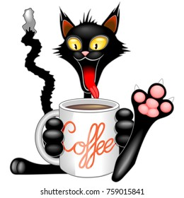 Happy and Funny Cat Cartoon Character with Big Mug full of Coffee! Original Vector Graphic Art