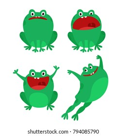 Happy Funny Frog Characters Set. Cartoon Style Vector Illustration