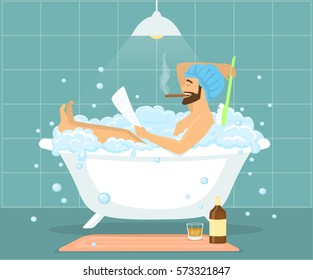 Fat gay taking bath with some toys
