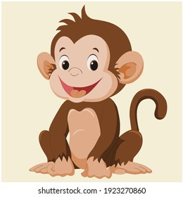 a happy funny monkey smiling